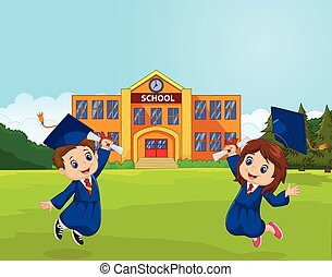 Cartoon Graduation Celebration with