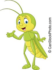 Cartoon grasshopper presenting - Vector illustration of...