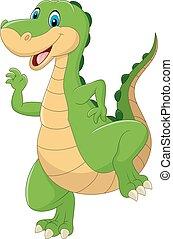 Cartoon green dinosaur