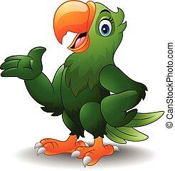 Cartoon green parrot presenting - Vector illustration of...