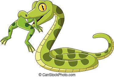 Cartoon green snake eating a frog - Vector illustration of...
