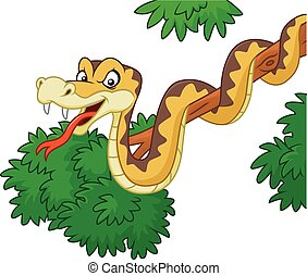 Vector illustration of Cartoon green snake on branch