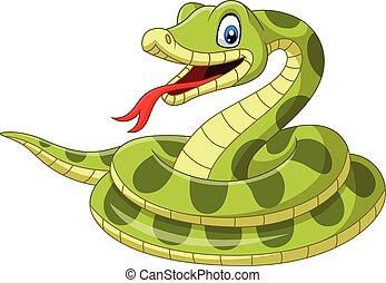 Cartoon green snake on white background