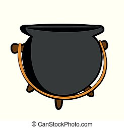 Vector illustration of cartoon grey pot