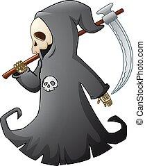 Cartoon grim reaper with scythe