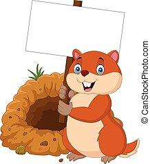 Cartoon groundhog holding blank sign