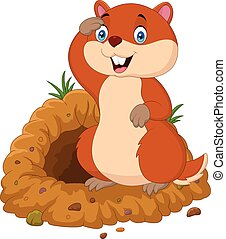 Cartoon groundhog looking out of hole - Vector illustration...