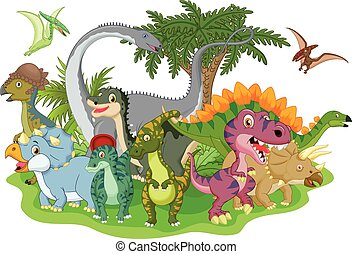 Cartoon group dinosaur - Vector illustration of Cartoon...