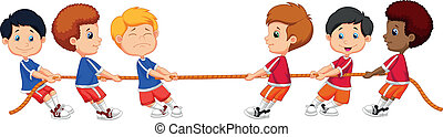 Cartoon Group of children playing T