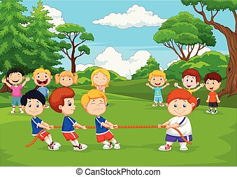 Cartoon group of children playing tug of war in the park - ...
