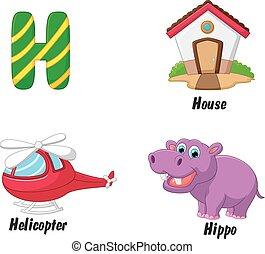 Cartoon H alphabet