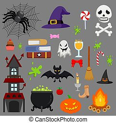 Cartoon Halloween icon set vector