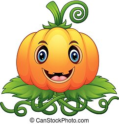Cartoon Halloween pumpkin with green leaves