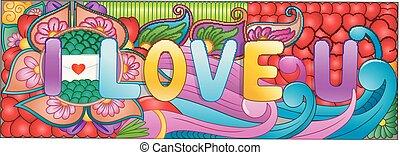 Cartoon hand drawn doodles i love you with colorful elements background