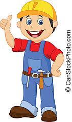 Vector illustration of Cartoon handyman with tools belt thumb up