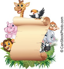 Cartoon Happy african animals with blank sign