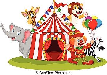 Cartoon happy animal circus