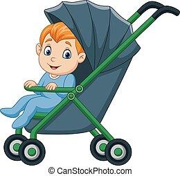 Cartoon happy baby boy in a stroller