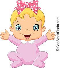 Cartoon happy baby posing