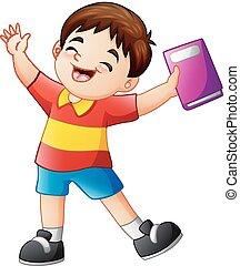 Cartoon happy boy holding a book