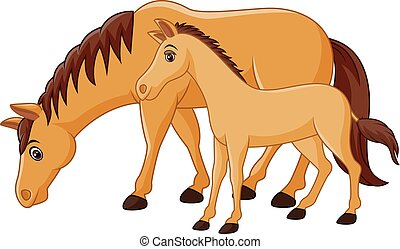 Vector illustration of Cartoon happy brown horse with a foal