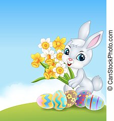 Cartoon happy bunny holding flower
