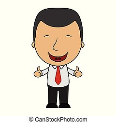 Cartoon happy businessman making thumbs up sign