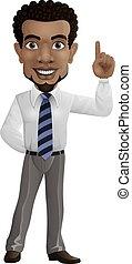 Cartoon happy businessman pointing up