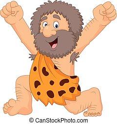 Cartoon happy caveman