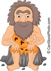 Cartoon happy caveman sitting
