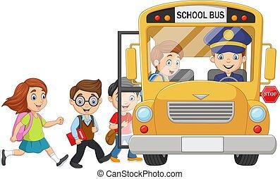 Cartoon happy children boarding a school bus