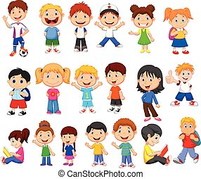 Cartoon happy children collection set