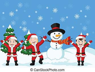 Cartoon Happy children in Santa Cos