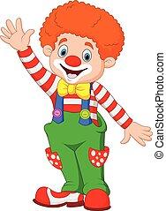 Cartoon happy clown waving hand