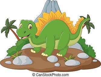 Cartoon happy dinosaur