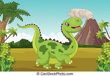 Cartoon happy dinosaur with mounta