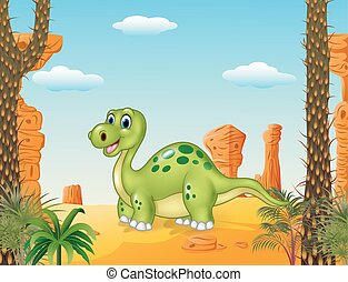 Cartoon happy dinosaur with prehist