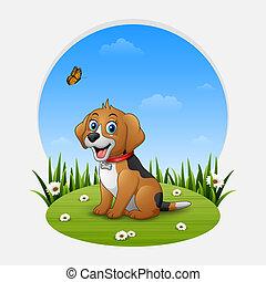 Cartoon happy dog sitting on the grass
