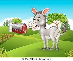 Cartoon happy donkey in the farm