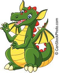 Cartoon happy dragon isolated on white background