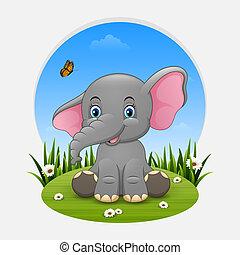 Cartoon happy elephant sitting on the grass