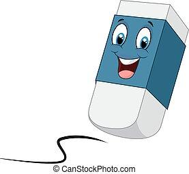 Vector illustration of Cartoon happy eraser