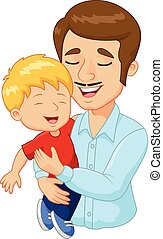 Cartoon happy family father holding