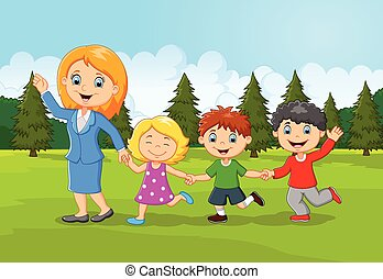 Cartoon happy family in the forest