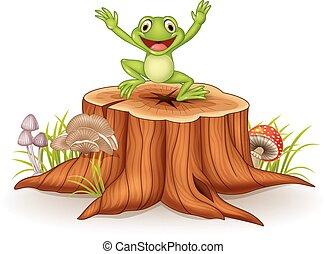 Cartoon happy frog jumping on tree