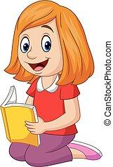 Cartoon happy girl reading a book