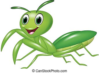 Vector illustration of Cartoon happy green ant isolated on white background