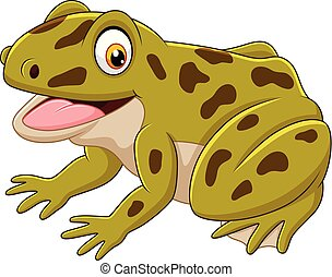 Cartoon happy green frog