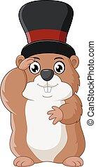 Cartoon happy ground hog