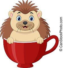 Cartoon happy hedgehog sitting in a red cup
